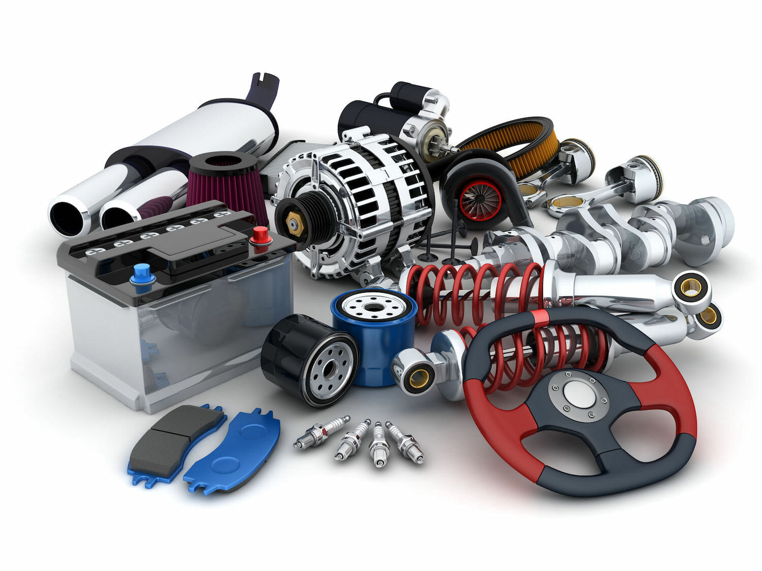 Various auto parts in 3D on a white background
